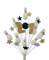 Skittles (10 pin bowling) 21st birthday cake topper decoration in white, black, silver and gold